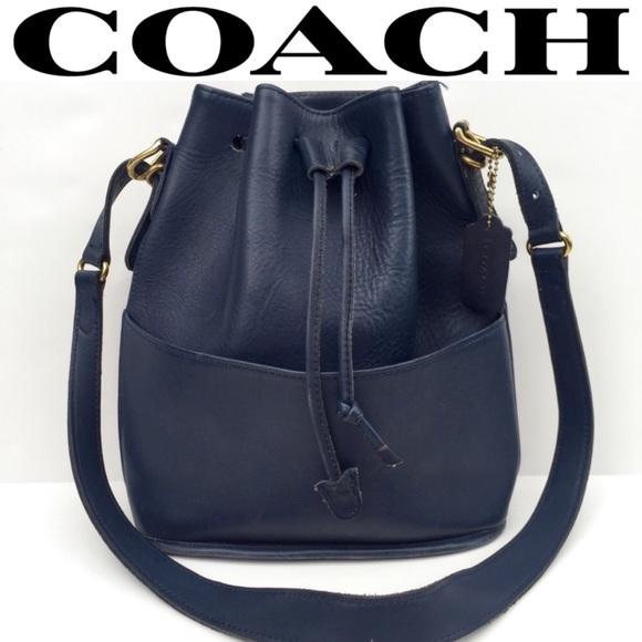 Coach Handbags - Coach • Vintage Navy Leather Bucket Bag Purse 071bd471ee66f